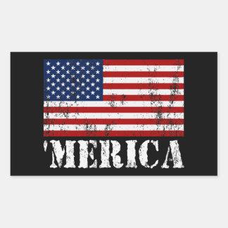Distressed U S Flag MERICA Rectangular Sticker