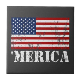 Distressed U.S. Flag 'MERICA Tile
