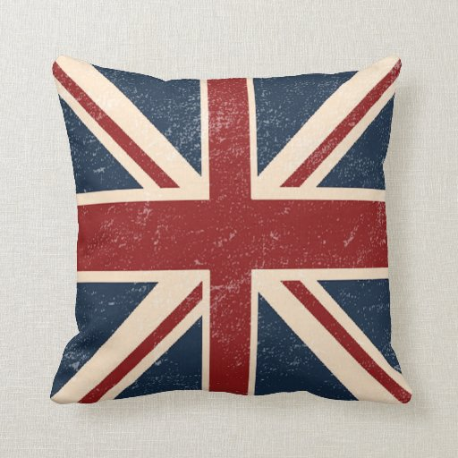 Distressed Union Jack British Flag Throw Pillow