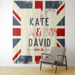 Distressed Union Jack Couple's Names Wedding Gift Tapestry