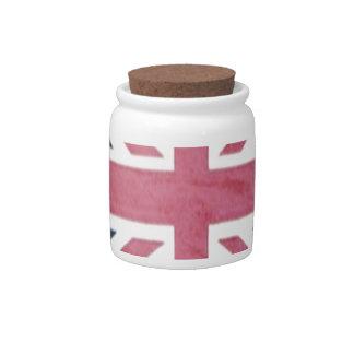 Distressed United kingdom british union jack flag Candy Jar