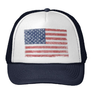 Distressed United States American Flag Trucker Hat