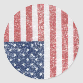 Distressed United States American Flag Round Stickers
