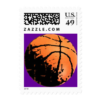 Distressed Urban Basketball Postage Stamps