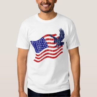 DISTRESSED US FLAG AND EAGLE SHIRT