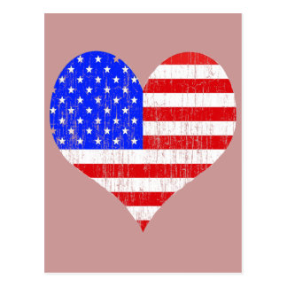 DISTRESSED US FLAG HEART POSTCARD