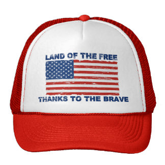 Distressed US Flag Land Of The Free Hat