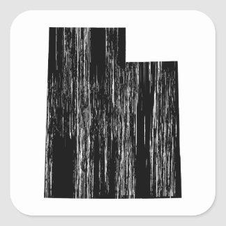 Distressed Utah State Outline Square Sticker