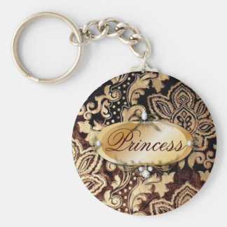 distressed victorian gold chocolate brown damask keychain