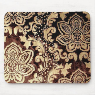 distressed victorian gold chocolate brown damask mouse pad
