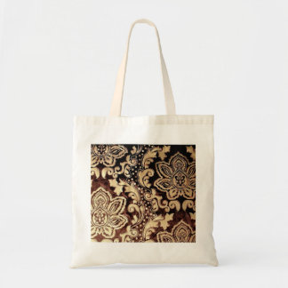 distressed victorian gold chocolate brown damask tote bag