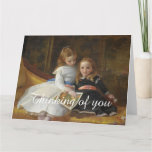 Distressed Victorian Two Young Girls Big Card