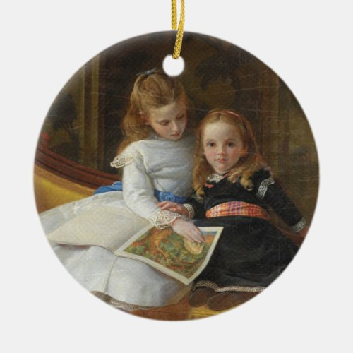 Distressed Victorian Two Young Girls Ceramic Ornament