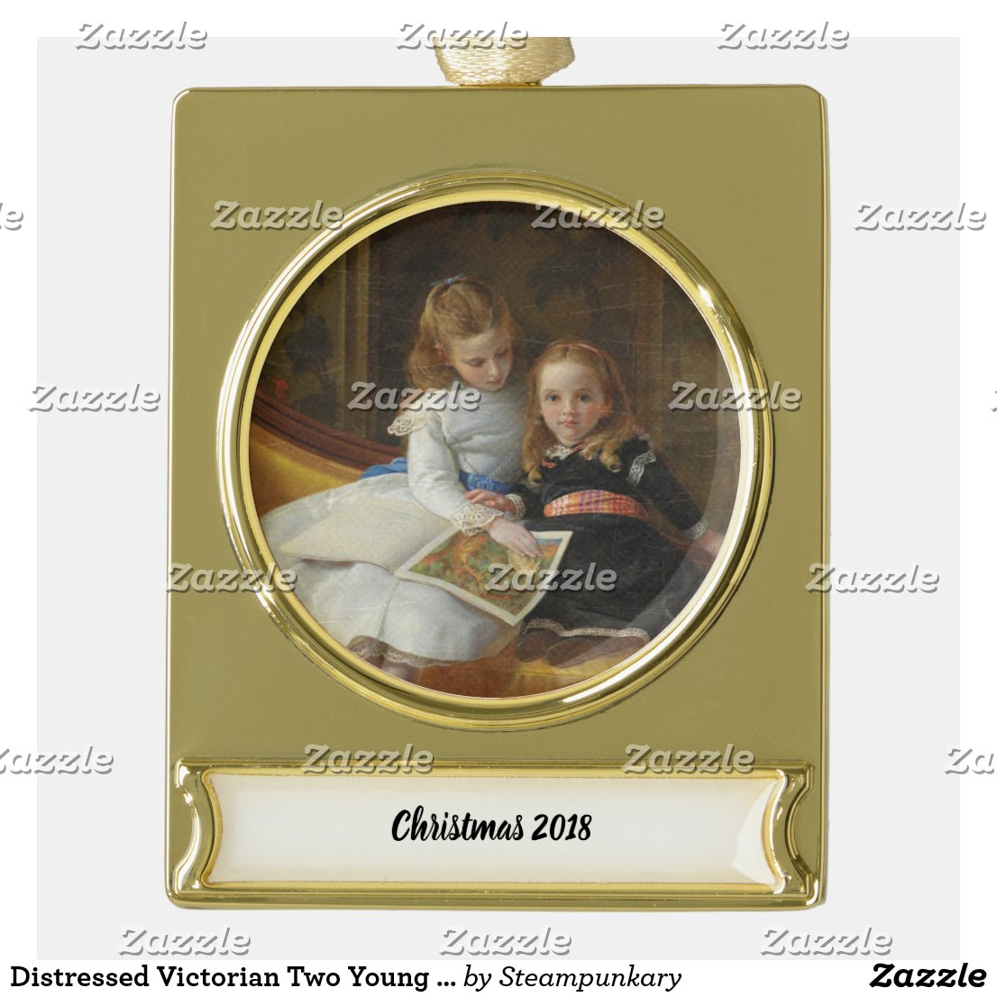 Distressed Victorian Two Young Girls Gold Plated Banner Ornament