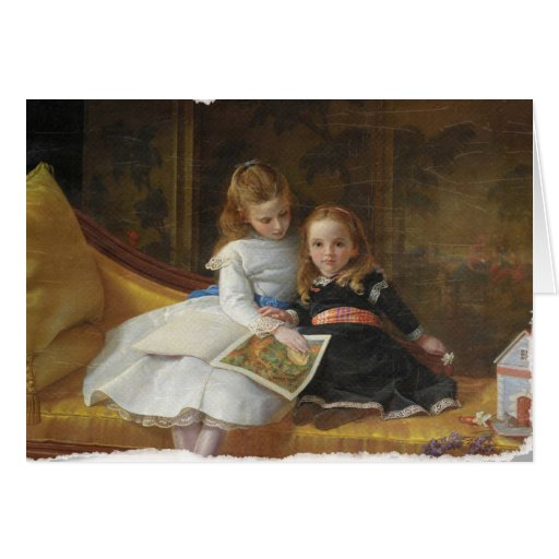 Distressed Victorian Two Young Girls Greeting Card