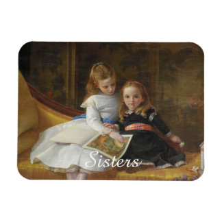 Distressed Victorian Two Young Girls Photo Magnet