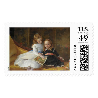 Distressed Victorian Two Young Girls Postage Stamp