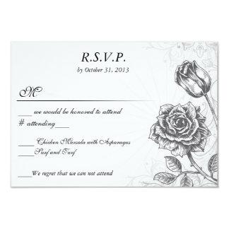 Distressed Victorian Vintage Tattoo Rose  RSVP 3.5x5 Paper Invitation Card