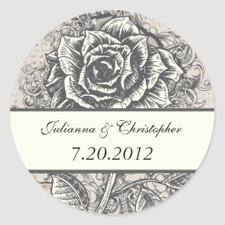 Distressed Victorian Vintage Tattoo Rose Wedding D Classic Round Sticker