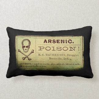 Distressed Vintage Arsenic Label Lumbar Pillow