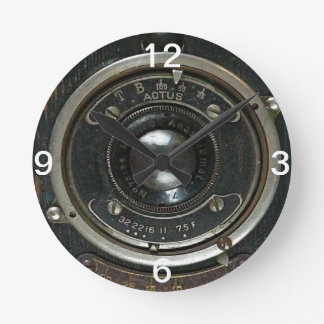 Distressed Vintage Camera Round Clock
