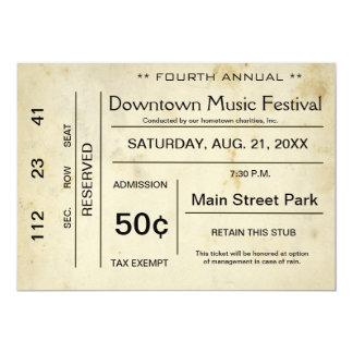 Distressed Vintage Entertainment Ticket Invitation