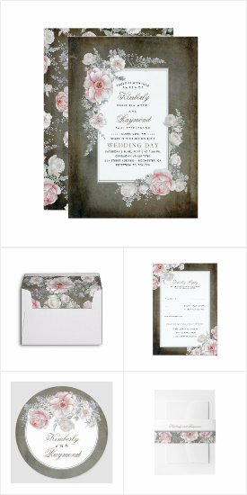 Distressed Vintage Florals Rustic Wedding Invitation Set