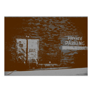 Distressed Vintage Look Photo of Brick Town Wall Poster