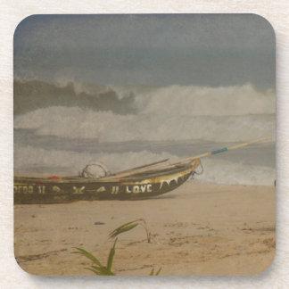 Distressed Vintage Photo Love Boat Beverage Coaster