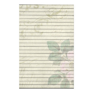 Distressed Vintage Pink Flower With Lines Stationery