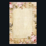 "Distressed Vintage Pink Flowers and Music Stationery<br><div class=""desc"">Distressed with lined paper at center and a frame of flowers with music notes behind</div>"