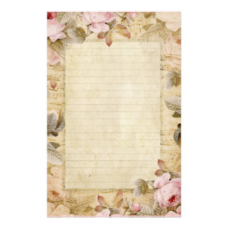 Distressed Vintage Pink Flowers and Music Stationery