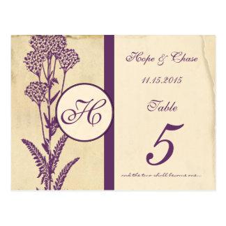 Distressed Vintage Purple Flower Table Number Card