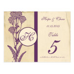 Distressed Vintage Purple Flower Table Number Card Post Cards