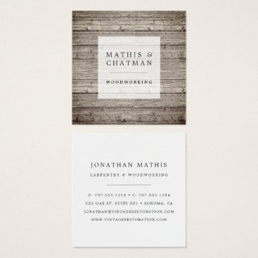 RedwoodAndVine Distressed Vintage Reclaimed Wood Square Business Card