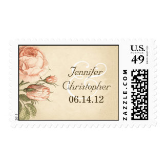 distressed vintage roses wedding stamps