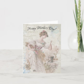 Distressed Vintage Woman Gathering Flowers Grain Holiday Card