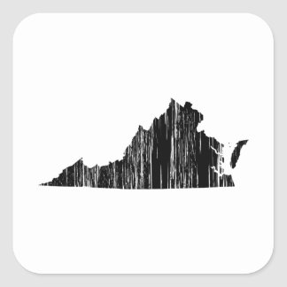 Distressed Virginia State Outline Square Sticker