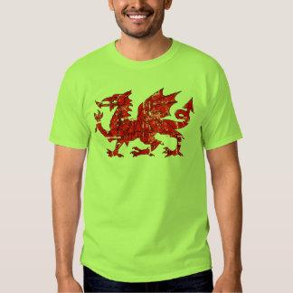 distressed wales flag dragon tee shirt