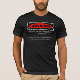 Distressed Warning! Methane production. 2 (Front) T-Shirt