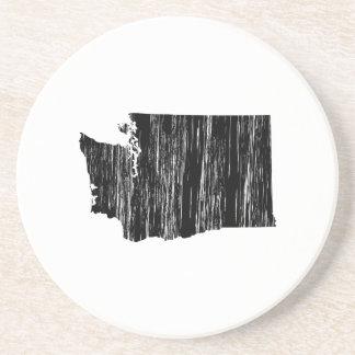 Distressed Washington State Outline Sandstone Coaster