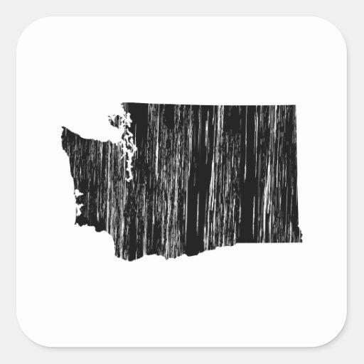 Distressed Washington State Outline Square Sticker