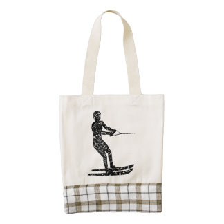 Distressed Water Skier Silhouette Zazzle HEART Tote Bag