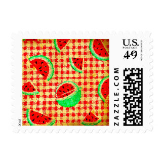 Distressed Watermelon Picnic Stamps