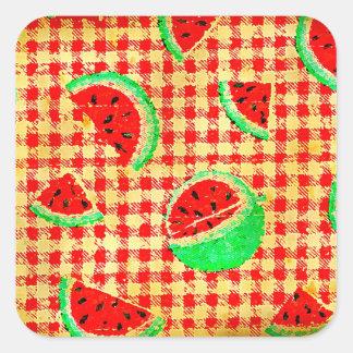 Distressed Watermelon Picnic Square Sticker