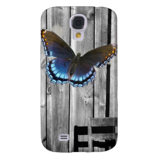 Distressed Weathered Wood farmhouse Blue butterfly Galaxy S4 Case