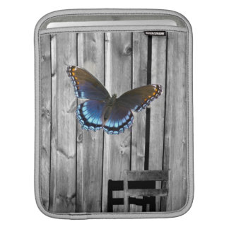 Distressed Weathered Wood farmhouse Blue butterfly Sleeve For iPads