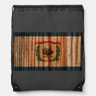 Distressed West Virginia Flag Drawstring Bags