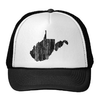 Distressed West Virginia State Outline Trucker Hat