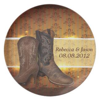 distressed western country cowboy wedding melamine plate